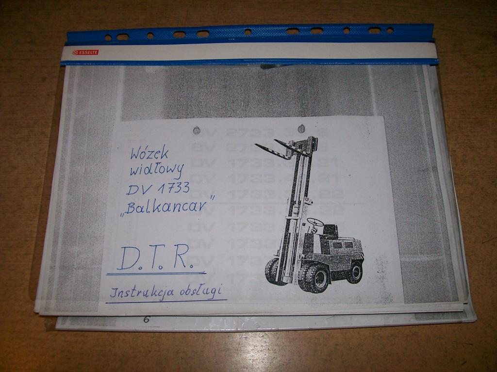 DTR z katalogiem wózka widłowego DV1733 Balkancar.