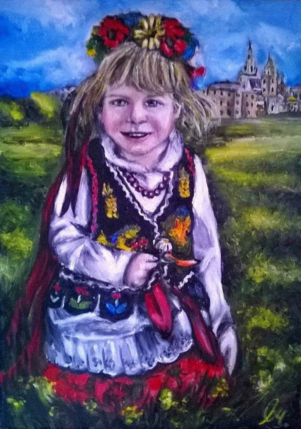 Sprzedam obraz olejny - Dziewczynka w stroju Krako