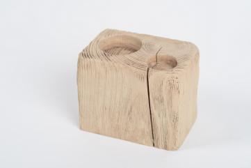 Świecznik drewniany sosnowy,kostka bielona,ozdobny